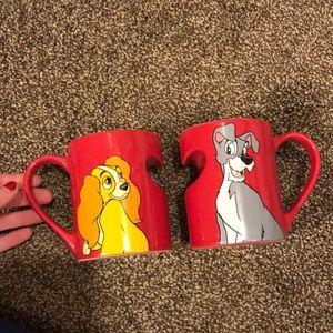 Disney Lady and the Tramp coffee mug set like new
